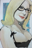 Nina Hartley: 20x30 watercolor