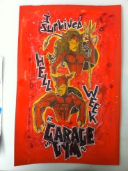 Garage Gym Devils: 11x17 paint & ink