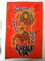 Garage Gym Devils: 11x17 paint & ink
