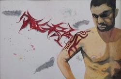 Tattooed Graff: 20x30 watercolor