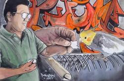 Dad's Birdie: 20x30 watercolor