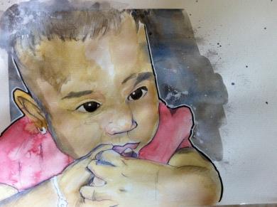 Alejandra: 12x16 watercolor